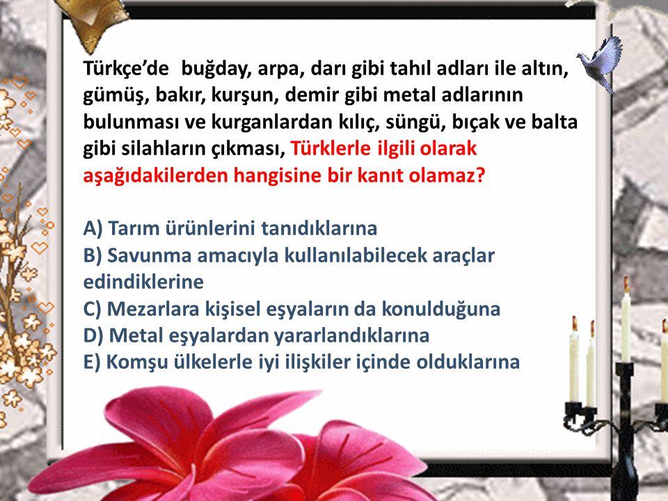 1. Türkçe'de buğday, arpa, darı gibi tahıl adları ile altın, gümüş, bakır, kurşun, demir gibi metal adlarının bulunması ve kurganlardan kılıç, süngü,