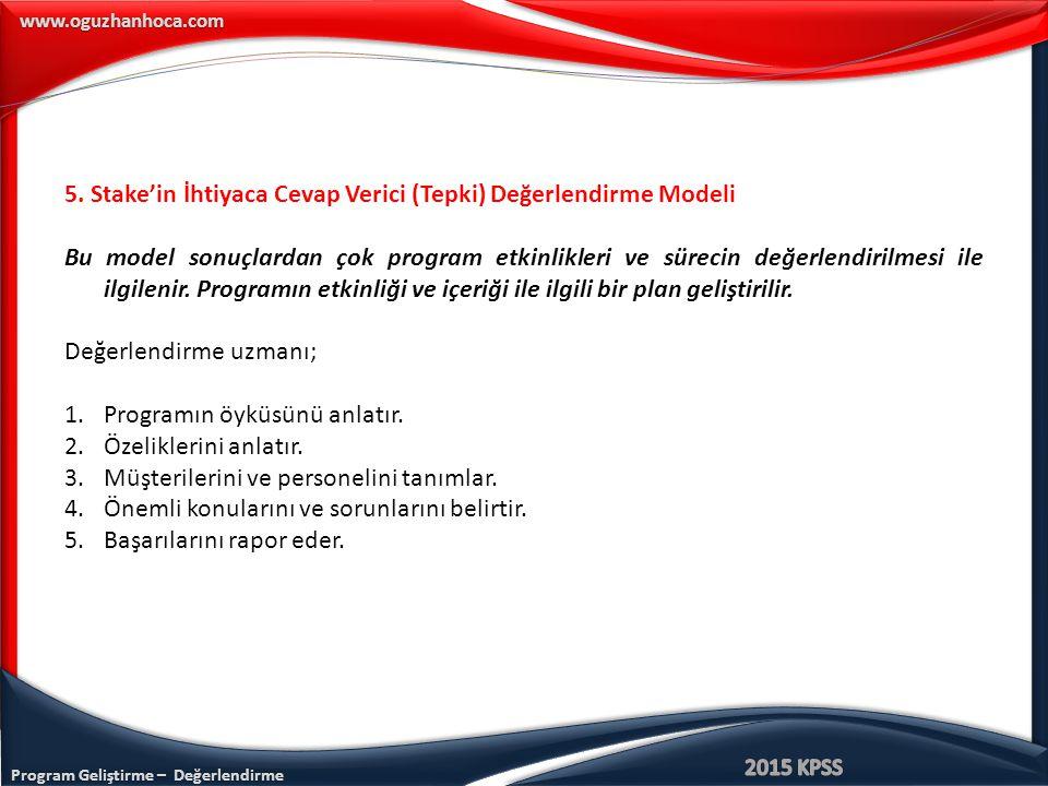 Program Geliştirme – Değerlendirme www.oguzhanhoca.com 5.