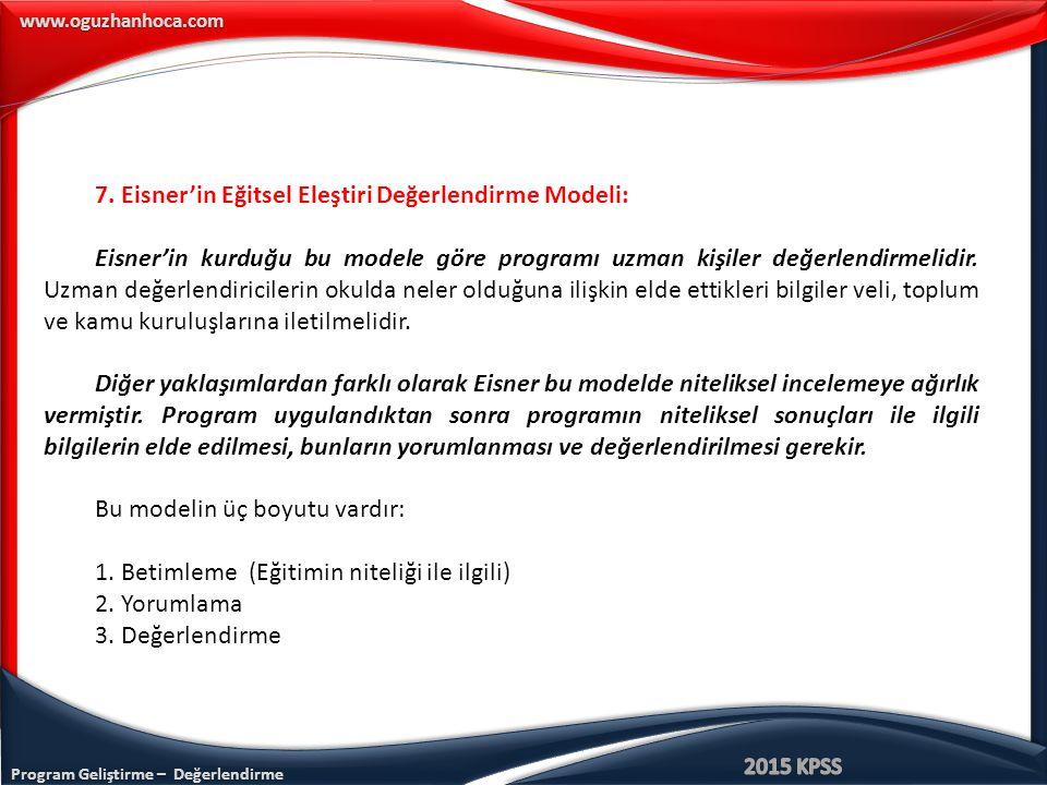 Program Geliştirme – Değerlendirme www.oguzhanhoca.com 7.