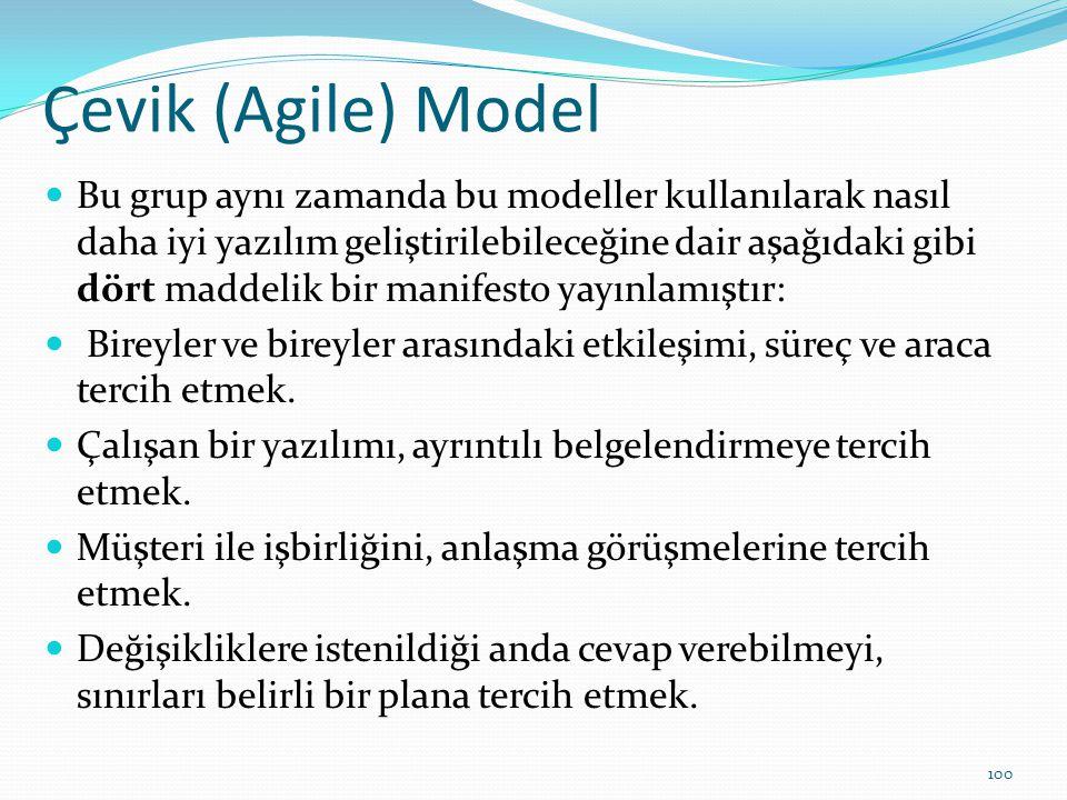 Çevik (Agile) Model Bu grup aynı zamanda bu modeller kullanılarak nasıl daha iyi yazılım geliştirilebileceğine dair aşağıdaki gibi dört maddelik bir m