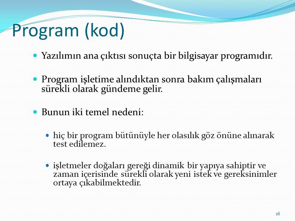 Program (kod) Yazılımın ana çıktısı sonuçta bir bilgisayar programıdır. Program işletime alındıktan sonra bakım çalışmaları sürekli olarak gündeme gel