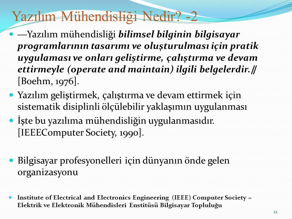 Yazılım Mühendisliği Nedir? -2 ―Yazılım mühendisliği bilimsel bilginin bilgisayar programlarının tasarımı ve oluşturulması için pratik uygulaması ve o