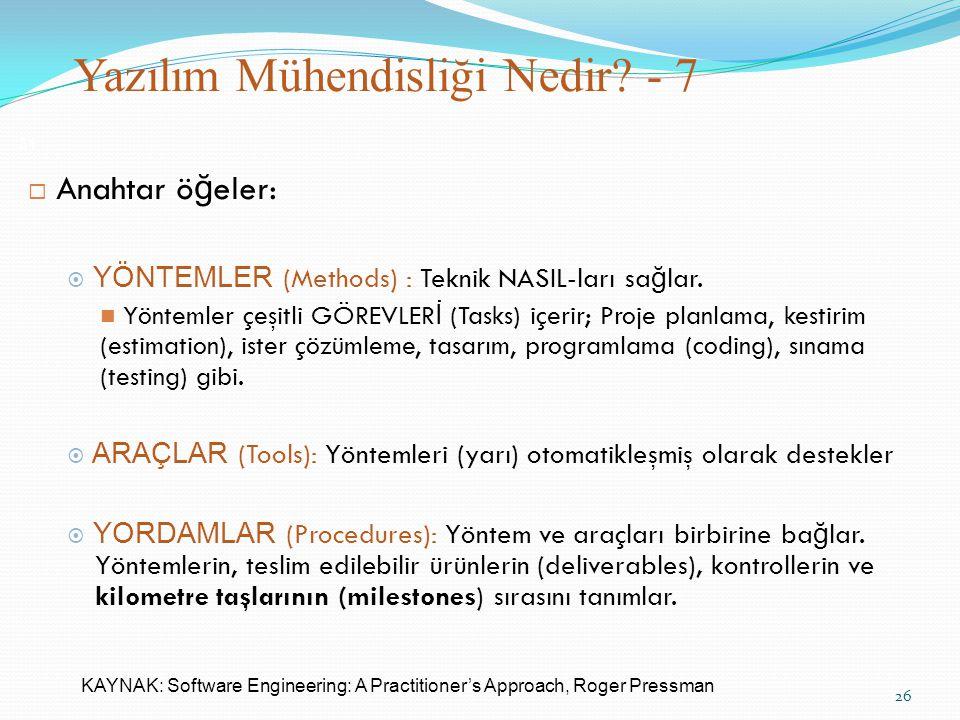 Yazılım Mühendisliği Nedir? - 7 31  Anahtar ö ğ eler:  YÖNTEMLER (Methods) : Teknik NASIL-ları sa ğ lar. Yöntemler çeşitli GÖREVLER İ (Tasks) içerir