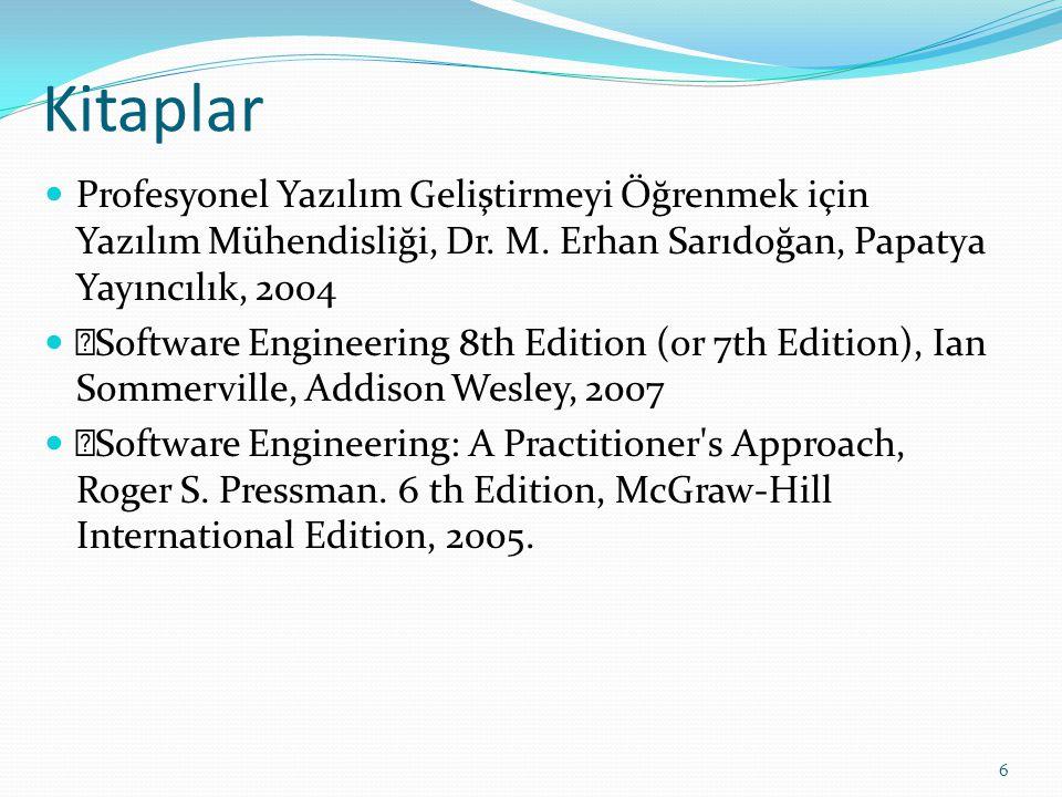 Kitaplar Profesyonel Yazılım Geliştirmeyi Öğrenmek için Yazılım Mühendisliği, Dr. M. Erhan Sarıdoğan, Papatya Yayıncılık, 2004  Software Engineering