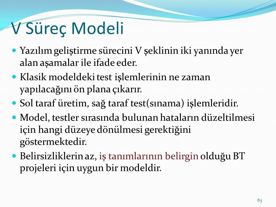 V Süreç Modeli Yazılım geliştirme sürecini V şeklinin iki yanında yer alan aşamalar ile ifade eder. Klasik modeldeki test işlemlerinin ne zaman yapıla