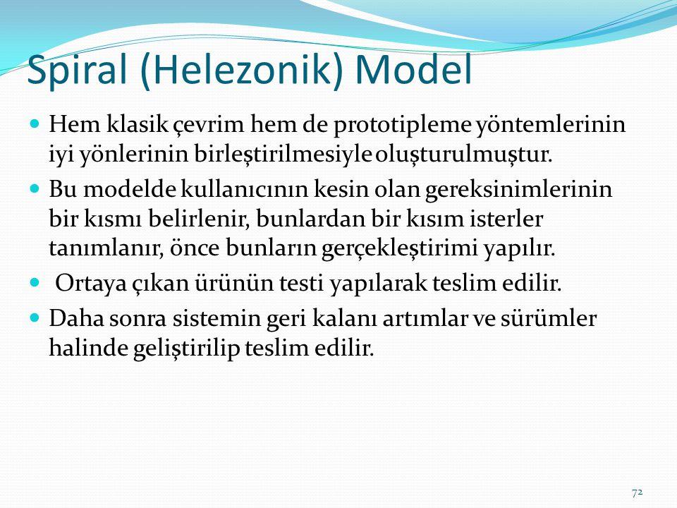 Spiral (Helezonik) Model Hem klasik çevrim hem de prototipleme yöntemlerinin iyi yönlerinin birleştirilmesiyle oluşturulmuştur. Bu modelde kullanıcını
