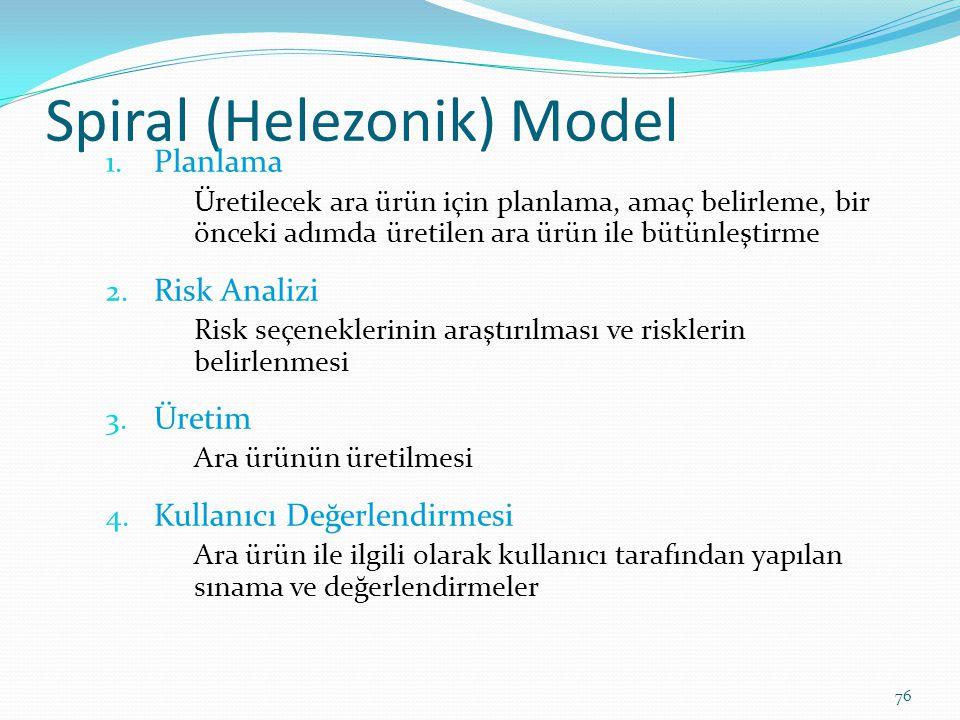Spiral (Helezonik) Model 1. Planlama Üretilecek ara ürün için planlama, amaç belirleme, bir önceki adımda üretilen ara ürün ile bütünleştirme 2. Risk