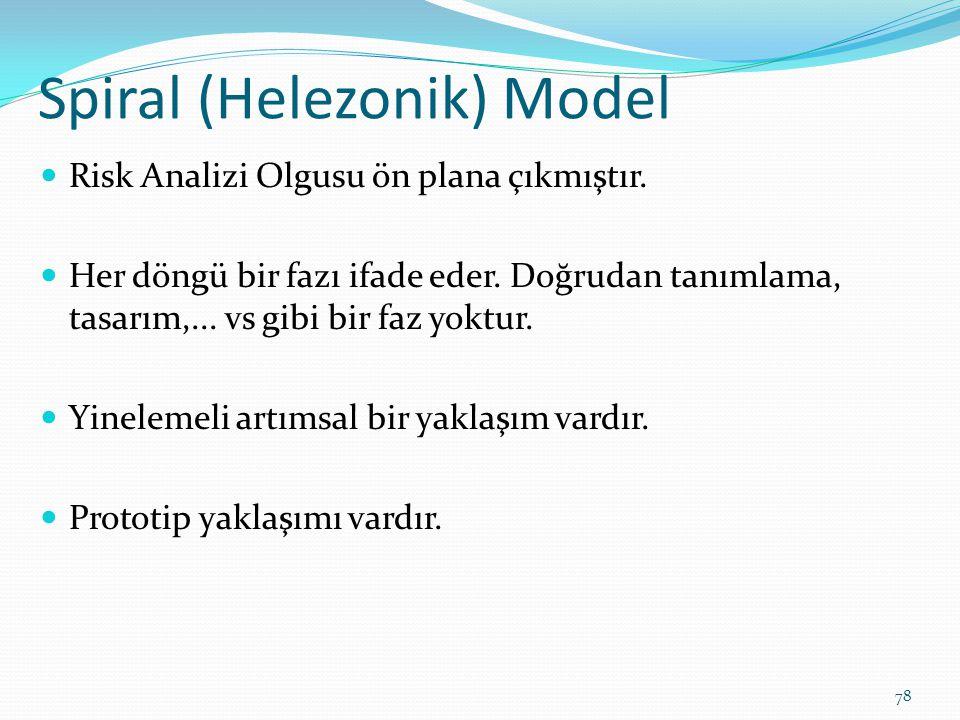 Spiral (Helezonik) Model Risk Analizi Olgusu ön plana çıkmıştır. Her döngü bir fazı ifade eder. Doğrudan tanımlama, tasarım,... vs gibi bir faz yoktur