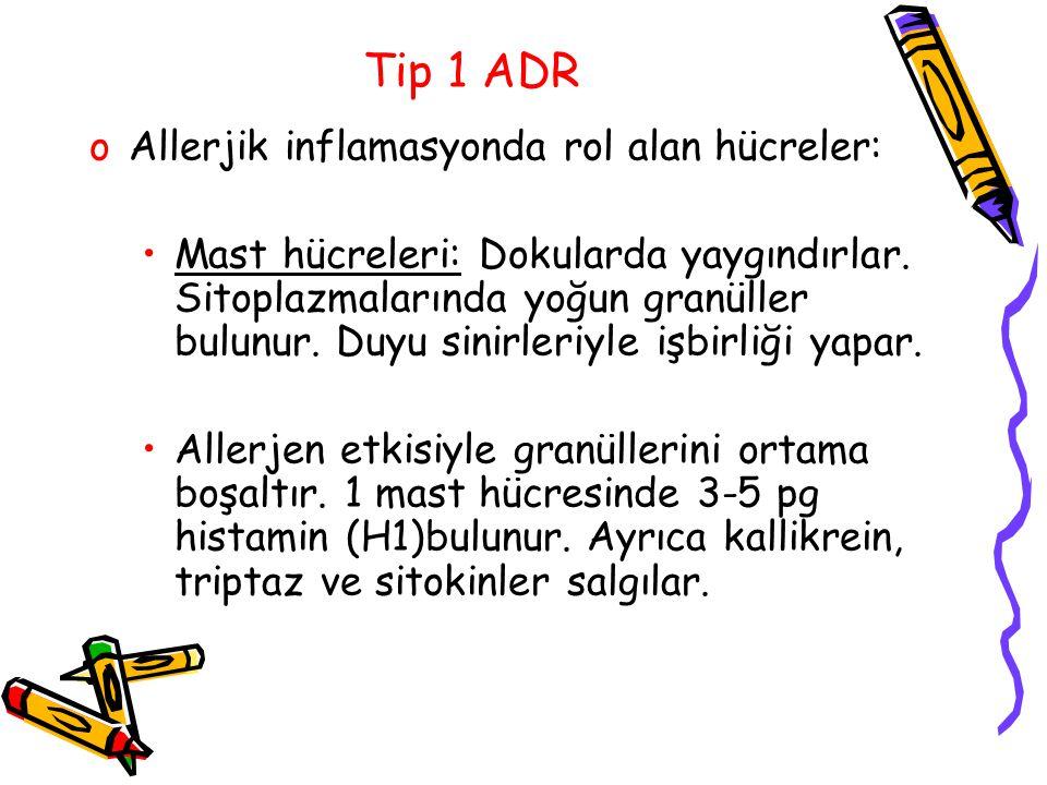 Tip 1 ADR oAllerjik inflamasyonda rol alan hücreler: Mast hücreleri: Dokularda yaygındırlar. Sitoplazmalarında yoğun granüller bulunur. Duyu sinirleri