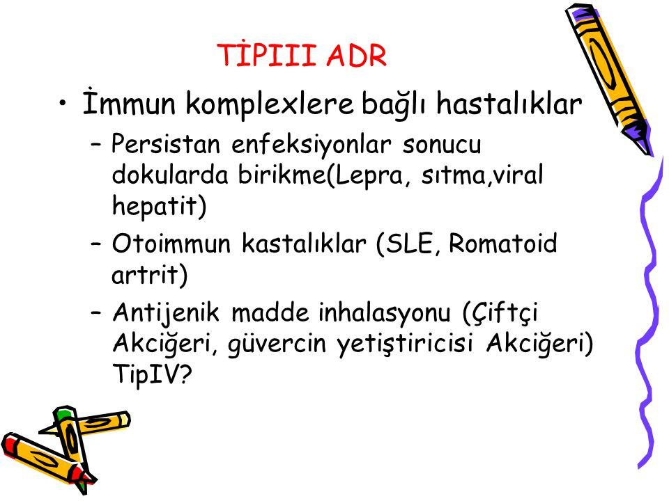 TİPIII ADR İmmun komplexlere bağlı hastalıklar –Persistan enfeksiyonlar sonucu dokularda birikme(Lepra, sıtma,viral hepatit) –Otoimmun kastalıklar (SL