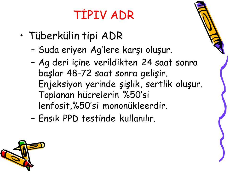 TİPIV ADR Tüberkülin tipi ADR –Suda eriyen Ag'lere karşı oluşur. –Ag deri içine verildikten 24 saat sonra başlar 48-72 saat sonra gelişir. Enjeksiyon