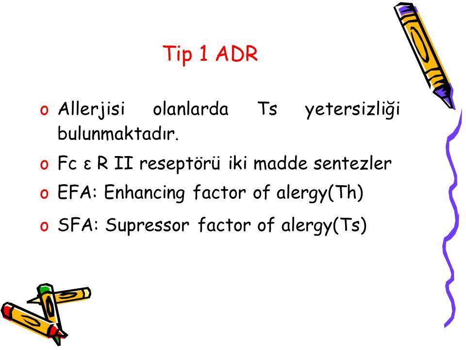 Tip 1 ADR oAllerjisi olanlarda Ts yetersizliği bulunmaktadır. oFc ε R II reseptörü iki madde sentezler oEFA: Enhancing factor of alergy(Th) oSFA: Supr