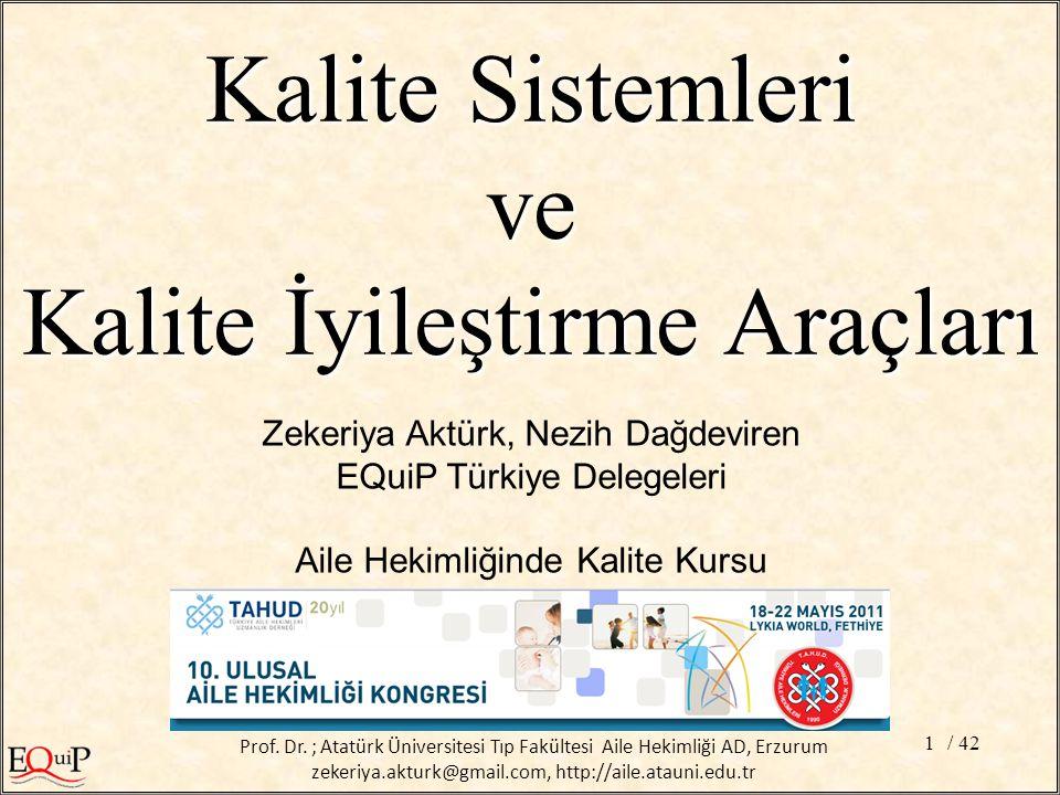 / 421 Zekeriya Aktürk, Nezih Dağdeviren EQuiP Türkiye Delegeleri Aile Hekimliğinde Kalite Kursu Kalite Sistemleri ve Kalite İyileştirme Araçları Prof.
