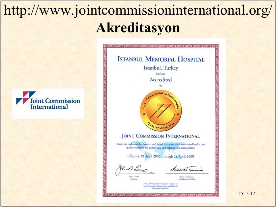 http://www.jointcommissioninternational.org/ Akreditasyon / 4215