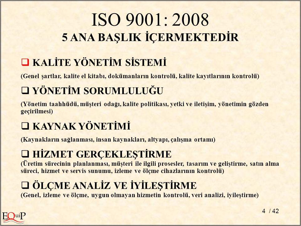 ISO 9001: 2008 5 ANA BAŞLIK İÇERMEKTEDİR  KALİTE YÖNETİM SİSTEMİ (Genel şartlar, kalite el kitabı, dokümanların kontrolü, kalite kayıtlarının kontrol