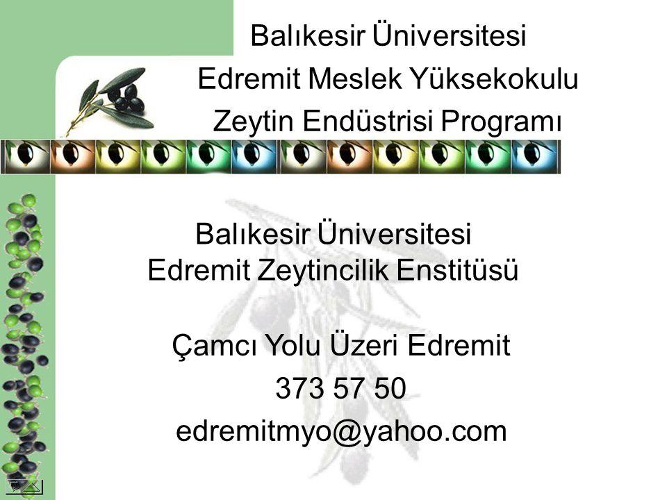 Balıkesir Üniversitesi Edremit Meslek Yüksekokulu Zeytin Endüstrisi Programı Balıkesir Üniversitesi Edremit Zeytincilik Enstitüsü Çamcı Yolu Üzeri Edr