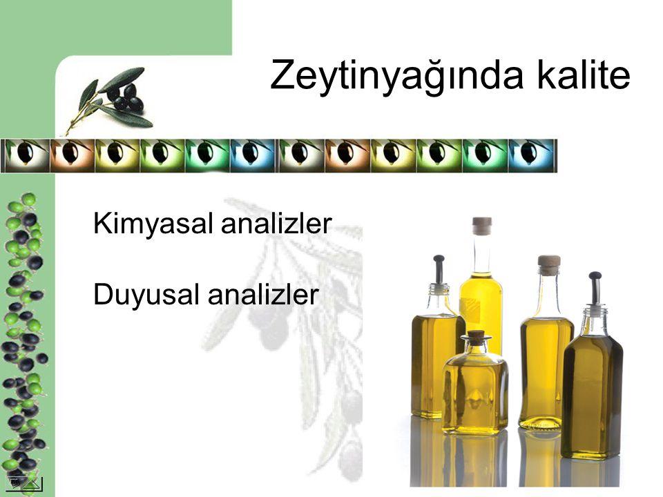Zeytinyağında kalite Kimyasal analizler Duyusal analizler