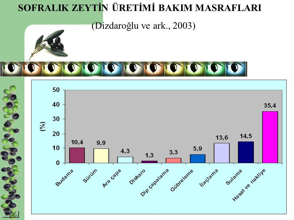 SOFRALIK ZEYTİN ÜRETİMİ BAKIM MASRAFLARI (Dizdaroğlu ve ark., 2003)