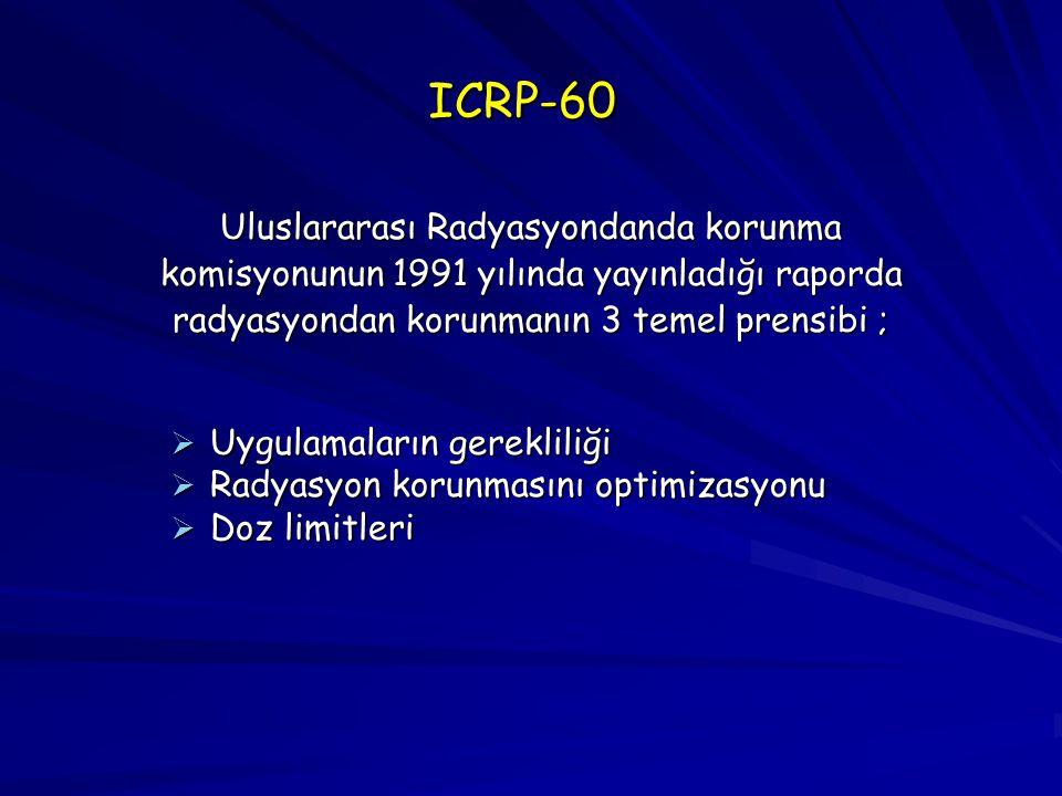 ICRP-60 Uluslararası Radyasyondanda korunma komisyonunun 1991 yılında yayınladığı raporda radyasyondan korunmanın 3 temel prensibi ;  Uygulamaların g