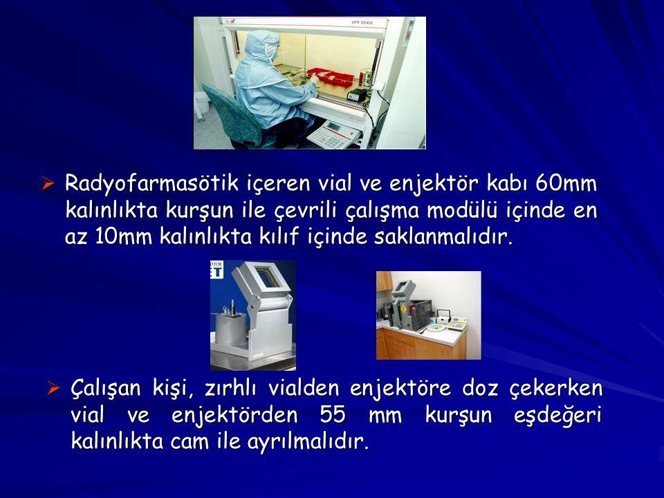  Radyofarmasötik içeren vial ve enjektör kabı 60mm kalınlıkta kurşun ile çevrili çalışma modülü içinde en az 10mm kalınlıkta kılıf içinde saklanmalıd