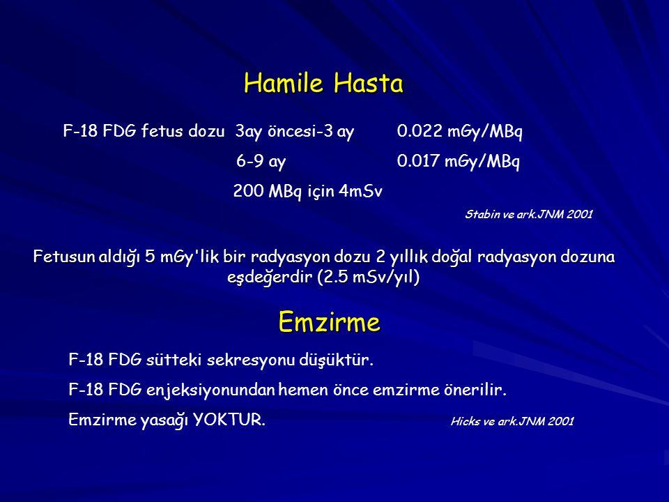 Hamile Hasta F-18 FDG fetus dozu 3ay öncesi-3 ay 0.022 mGy/MBq 6-9 ay0.017 mGy/MBq 200 MBq için 4mSv Stabin ve ark.JNM 2001 Fetusun aldığı 5 mGy'lik b