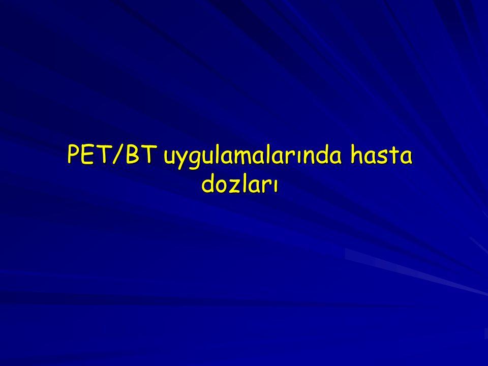 PET/BT uygulamalarında hasta dozları
