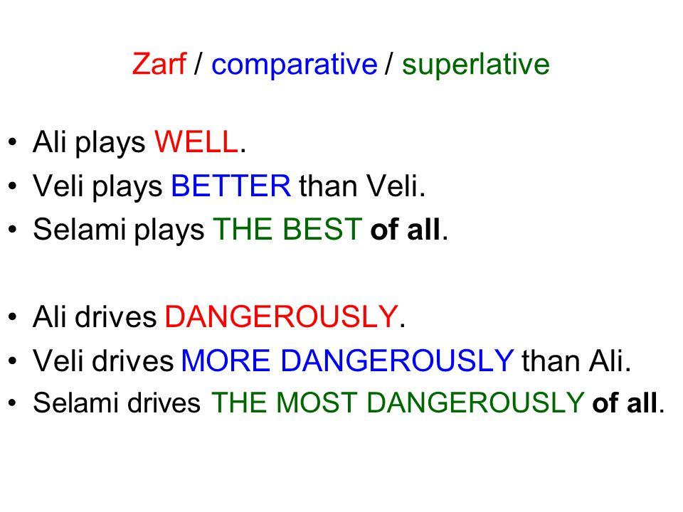 Zarf / comparative / superlative Ali runs FAST.Veli runs FASTER than Ali.