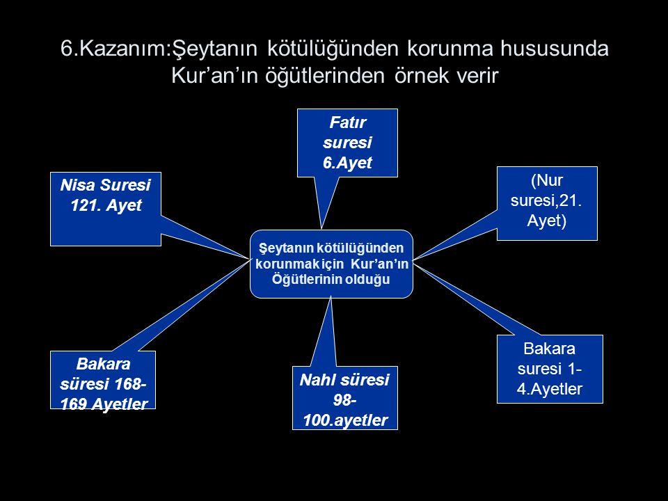 6.Kazanım:Şeytanın kötülüğünden korunma hususunda Kur'an'ın öğütlerinden örnek verir Şeytanın kötülüğünden korunmak için Kur'an'ın Öğütlerinin olduğu