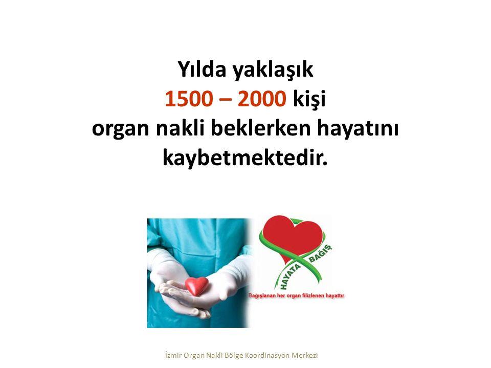 Yılda yaklaşık 1500 – 2000 kişi organ nakli beklerken hayatını kaybetmektedir. İzmir Organ Nakli Bölge Koordinasyon Merkezi