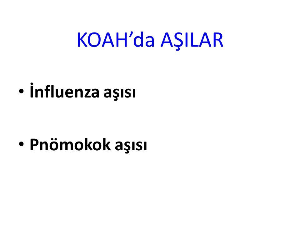 KOAH'da AŞILAR İnfluenza aşısı Pnömokok aşısı