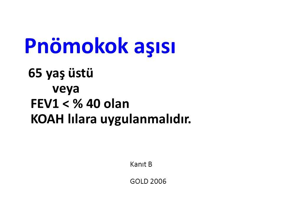 Pnömokok aşısı 65 yaş üstü veya FEV1 < % 40 olan KOAH lılara uygulanmalıdır. Kanıt B GOLD 2006
