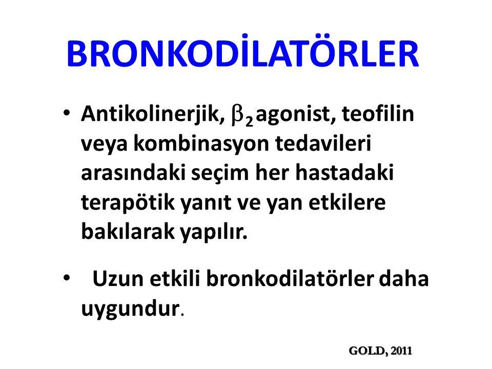 BRONKODİLATÖRLER Antikolinerjik,  2 agonist, teofilin veya kombinasyon tedavileri arasındaki seçim her hastadaki terapötik yanıt ve yan etkilere bakılarak yapılır.