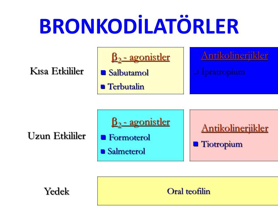 BRONKODİLATÖRLER Kısa Etkililer  2 - agonistler Salbutamol Salbutamol Terbutalin TerbutalinAntikolinerjikler İpratropium İpratropium Uzun Etkililer  2 - agonistler Formoterol Formoterol Salmeterol SalmeterolAntikolinerjikler Tiotropium Tiotropium Yedek Oral teofilin