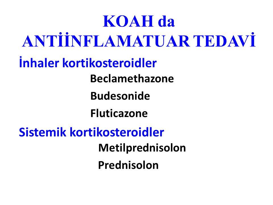 KOAH da ANTİİNFLAMATUAR TEDAVİ İnhaler kortikosteroidler Beclamethazone Budesonide Fluticazone Sistemik kortikosteroidler Metilprednisolon Prednisolon