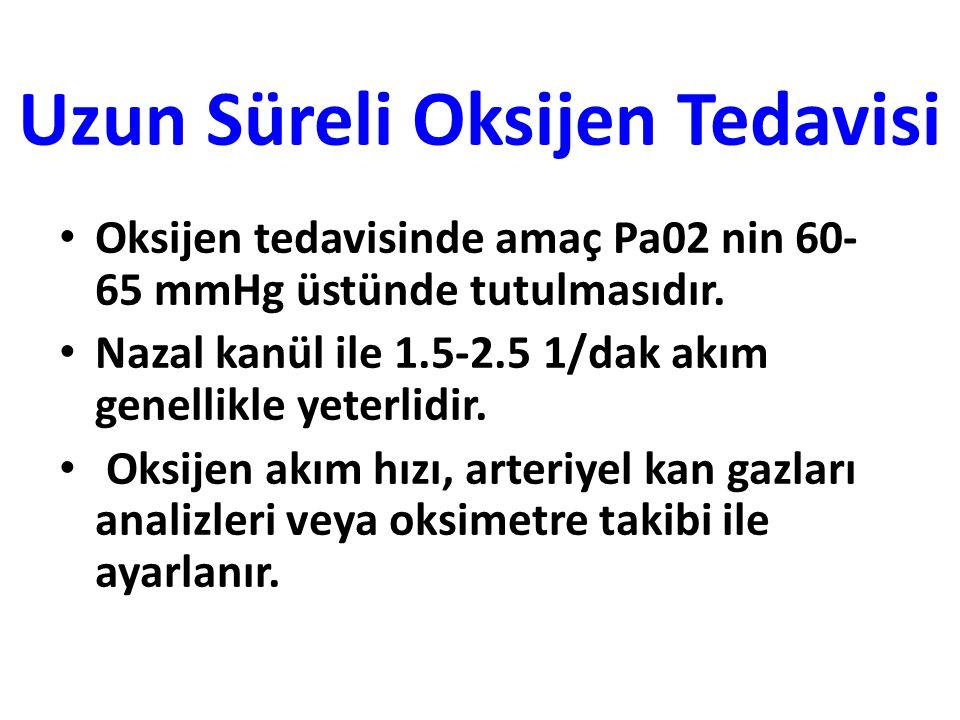 Uzun Süreli Oksijen Tedavisi Oksijen tedavisinde amaç Pa02 nin 60- 65 mmHg üstünde tutulmasıdır.