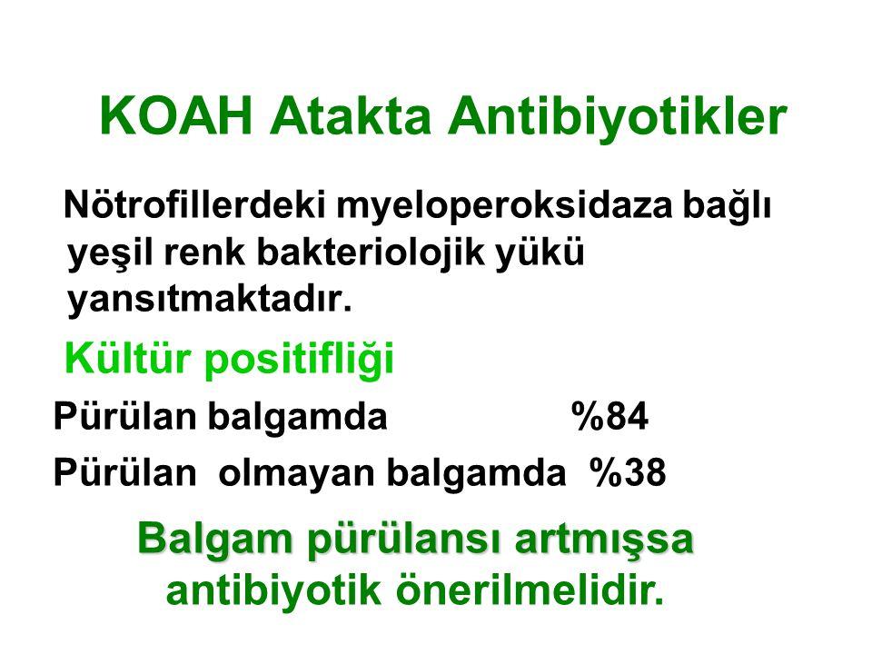 KOAH Atakta Antibiyotikler Nötrofillerdeki myeloperoksidaza bağlı yeşil renk bakteriolojik yükü yansıtmaktadır.