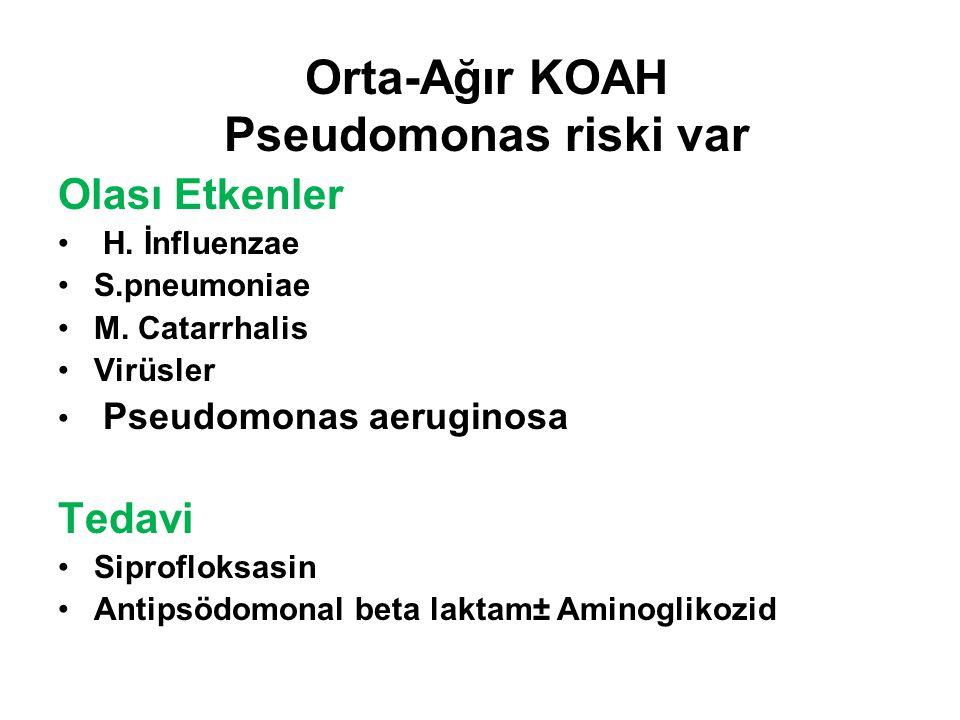 Orta-Ağır KOAH Pseudomonas riski var Olası Etkenler H.