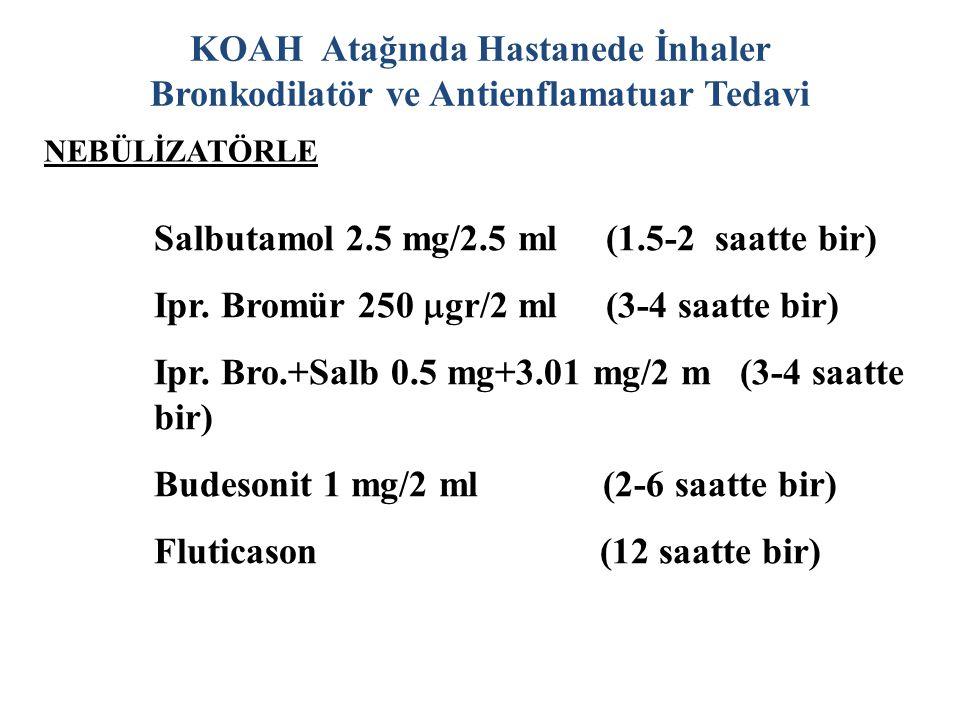 KOAH Atağında Hastanede İnhaler Bronkodilatör ve Antienflamatuar Tedavi Salbutamol 2.5 mg/2.5 ml (1.5-2 saatte bir) Ipr.