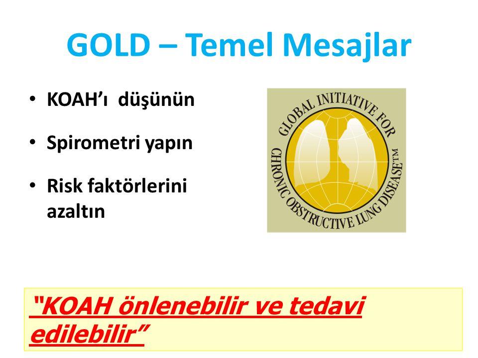 GOLD – Temel Mesajlar KOAH'ı düşünün Spirometri yapın Risk faktörlerini azaltın KOAH önlenebilir ve tedavi edilebilir