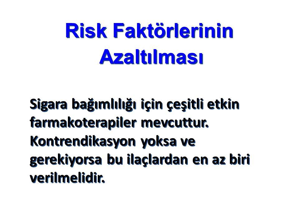 Risk Faktörlerinin Azaltılması Risk Faktörlerinin Azaltılması Sigara bağımlılığı için çeşitli etkin farmakoterapiler mevcuttur.