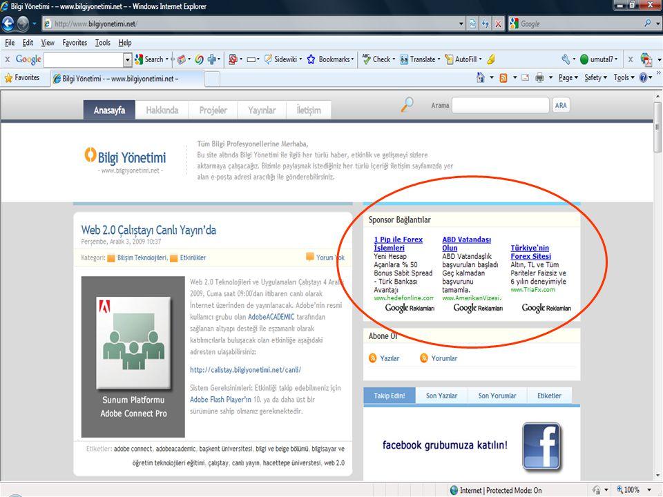 - 25 Web 2.0 Teknolojileri ve Uygulamaları Çalıştayı, 4 Aralık 2009, Beytepe-Ankara