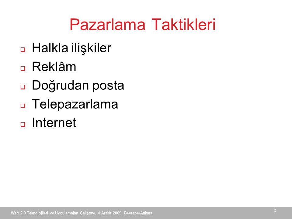 - 3 Web 2.0 Teknolojileri ve Uygulamaları Çalıştayı, 4 Aralık 2009, Beytepe-Ankara Pazarlama Taktikleri  Halkla ilişkiler  Reklâm  Doğrudan posta  Telepazarlama  Internet