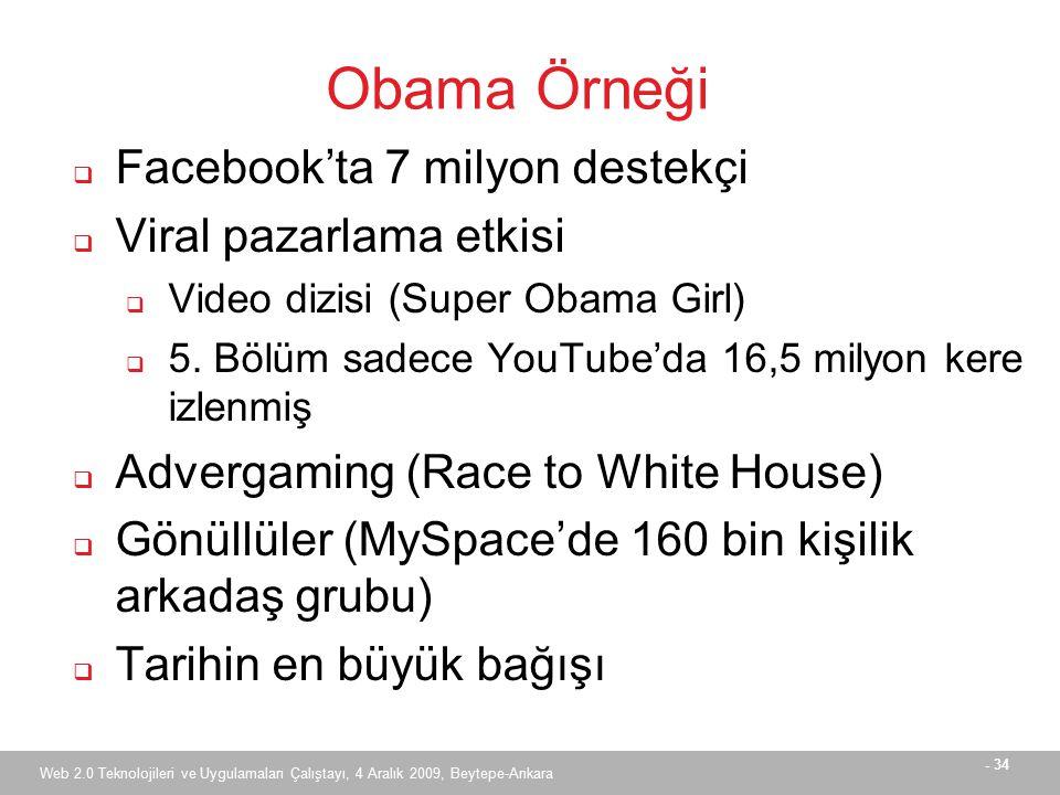 - 34 Web 2.0 Teknolojileri ve Uygulamaları Çalıştayı, 4 Aralık 2009, Beytepe-Ankara Obama Örneği  Facebook'ta 7 milyon destekçi  Viral pazarlama etkisi  Video dizisi (Super Obama Girl)  5.