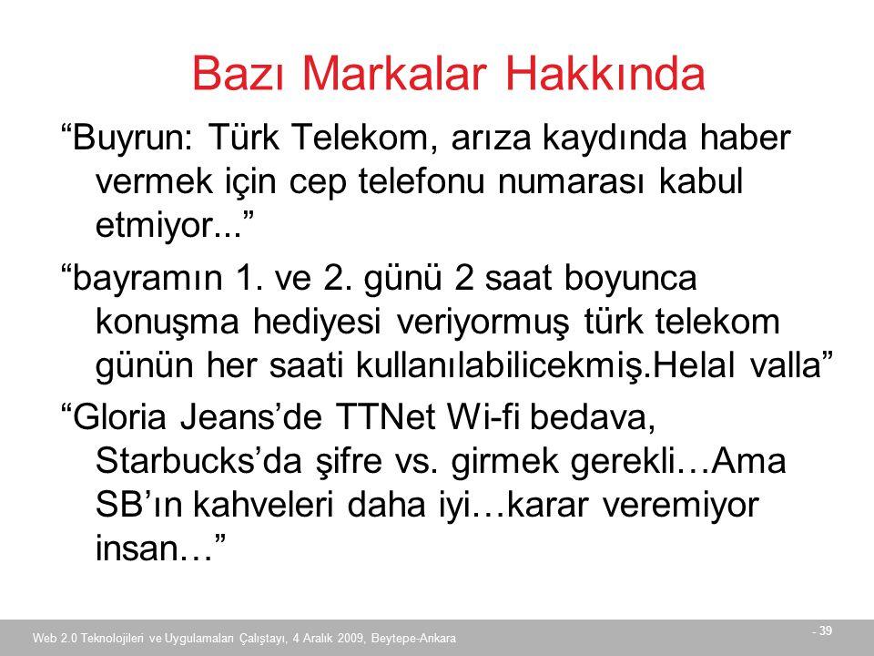 - 39 Web 2.0 Teknolojileri ve Uygulamaları Çalıştayı, 4 Aralık 2009, Beytepe-Ankara Bazı Markalar Hakkında Buyrun: Türk Telekom, arıza kaydında haber vermek için cep telefonu numarası kabul etmiyor... bayramın 1.
