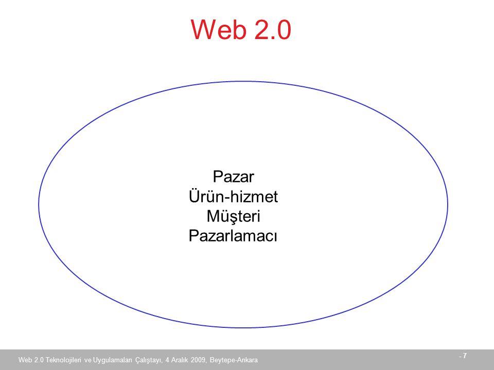 - 8 Web 2.0 Teknolojileri ve Uygulamaları Çalıştayı, 4 Aralık 2009, Beytepe-Ankara Müşterinin E-Pazarlamaya Bakışı  Fiyat karşılaştırması  Ürün ya da hizmetin sunulduğu yere gidilmemesi  Zaman kaybı, trafik, park yeri, kuyruklar …  Diğer müşterilerin ürün ya da hizmet hakkındaki düşünceleri