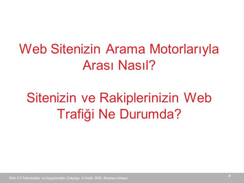 - 9 Web 2.0 Teknolojileri ve Uygulamaları Çalıştayı, 4 Aralık 2009, Beytepe-Ankara Web Sitenizin Arama Motorlarıyla Arası Nasıl.