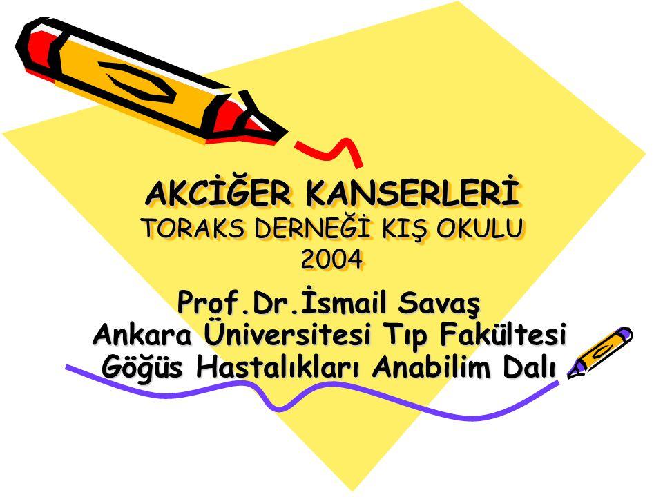 AKCİĞER KANSERLERİ TORAKS DERNEĞİ KIŞ OKULU 2004 Prof.Dr.İsmail Savaş Ankara Üniversitesi Tıp Fakültesi Göğüs Hastalıkları Anabilim Dalı