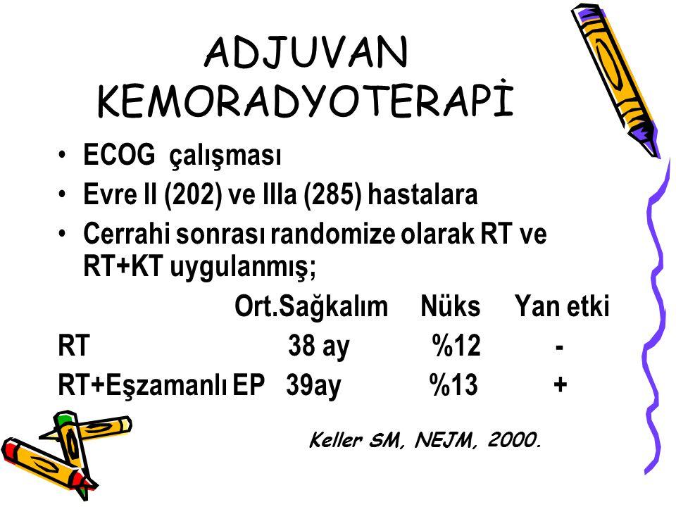 ADJUVAN KEMORADYOTERAPİ ECOG çalışması Evre II (202) ve IIIa (285) hastalara Cerrahi sonrası randomize olarak RT ve RT+KT uygulanmış; Ort.Sağkalım Nük