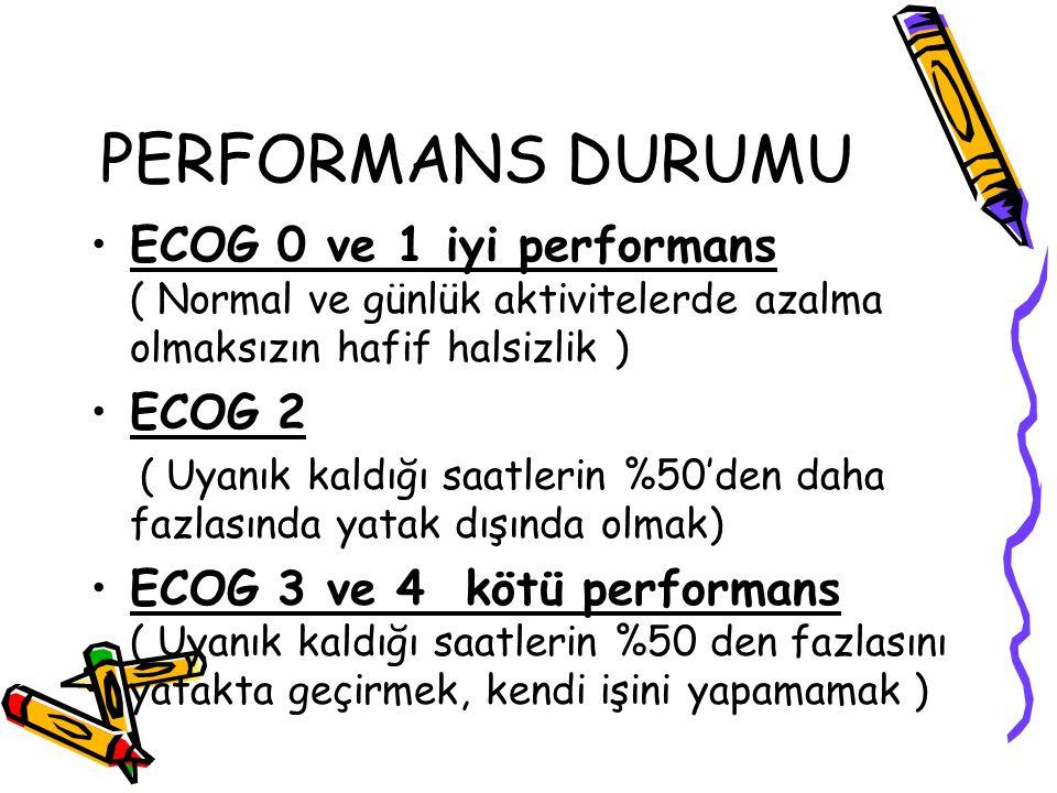 PERFORMANS DURUMU ECOG 0 ve 1 iyi performans ( Normal ve günlük aktivitelerde azalma olmaksızın hafif halsizlik ) ECOG 2 ( Uyanık kaldığı saatlerin %5