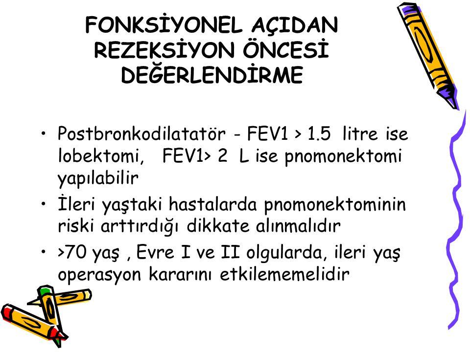 FONKSİYONEL AÇIDAN REZEKSİYON ÖNCESİ DEĞERLENDİRME Postbronkodilatatör - FEV1 > 1.5 litre ise lobektomi, FEV1> 2 L ise pnomonektomi yapılabilir İleri